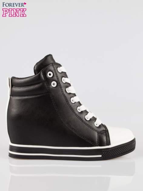Czarne sneakersy trampki cap toe na koturnie