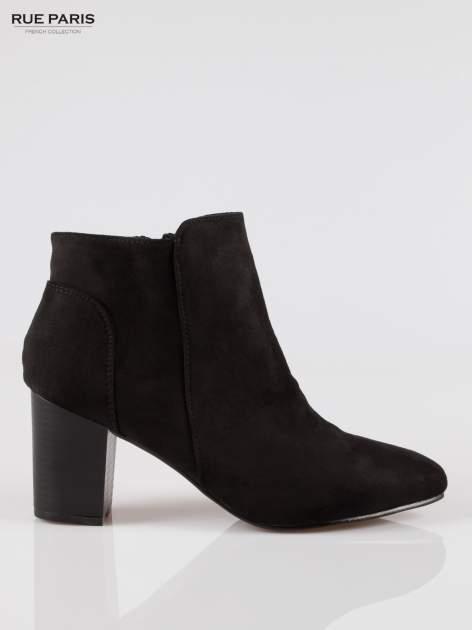 Czarne zamszowe botki ankle heels na słupku