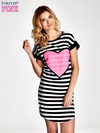 Czarno-biała sukienka w paski z nadrukiem serca