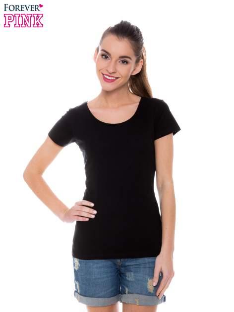 Czarny basicowy t-shirt z okrągłym dekoltem