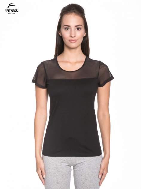 Czarny bawełniany t-shirt z siateczką