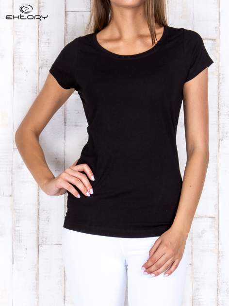 Czarny damski t-shirt sportowy basic PLUS SIZE
