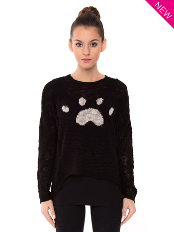 Czarny sweter ze zwierzęcym nadrukiem i efektem destroyed