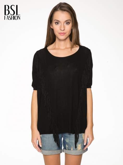 Czarny t-shirt z frędzlami i siateczkowym tyłem