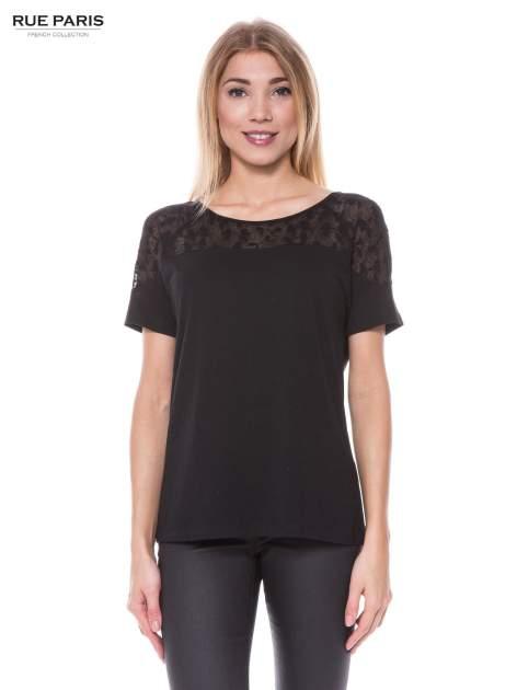 Czarny t-shirt z transparentną górą w kokardki