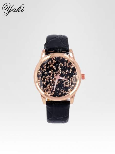 Czarny zegarek damski na pasku z tarczą glitter
