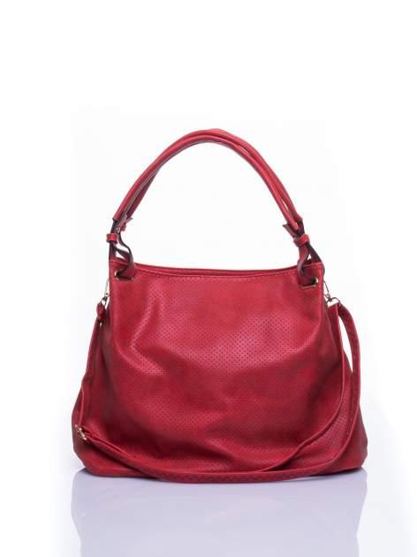 Czerwona ażurowa torba na ramię