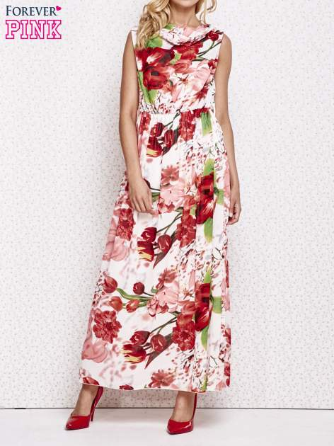Czerwona sukienka maxi w kwiaty