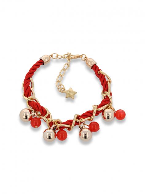 Czerwono - złota bransoletka z zawieszkami