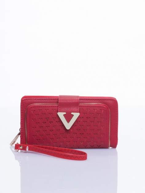 Czerwony portfel ze złotym detalem V