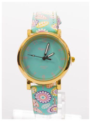 Damski zegarek z motywem kwiatowym na pasku