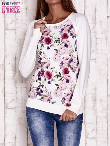 Ecru bluza z motywem róż