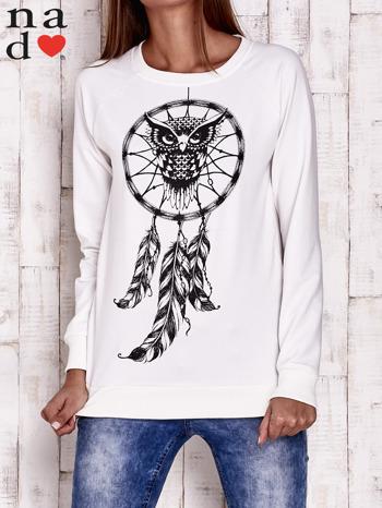 Ecru bluza z motywem sowy i łapacza snów