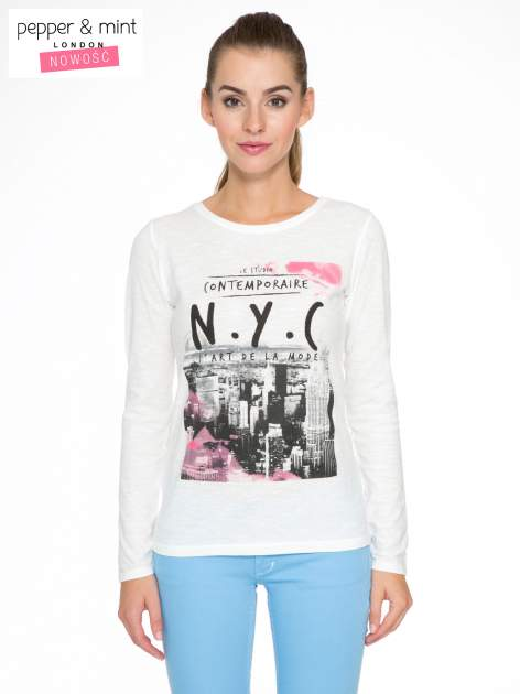 Ecru bluzka z nadrukiem NEW YORK CITY