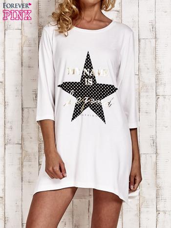 Ecru tunika dresowa z printem gwiazdy