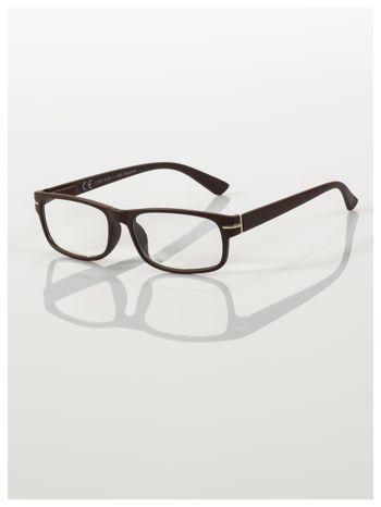 Eleganckie brązowe matowe korekcyjne okulary do czytania +2.5 D  z sytemem FLEX na zausznikach