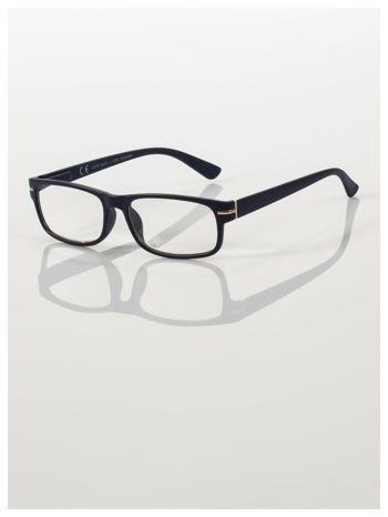 Eleganckie granatowe matowe korekcyjne okulary do czytania +3.5 D  z sytemem FLEX na zausznikach