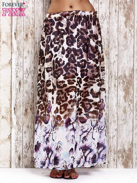 Fioletowa spódnica maxi we wzór panterkowokwiatowy
