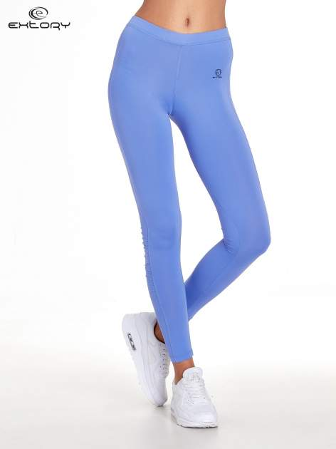 Fioletowe legginsy sportowe termalne z drapowaniem