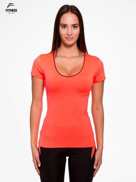 Fluoróżowy termoaktywny t-shirt sportowy z siateczką przy dekolcie i z tyłu ♦ Performance RUN