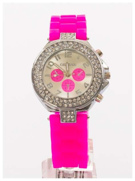 GENEVA Ciemnoróżowy zegarek damski z cyrkoniami. Wygodny silikonowy pasek