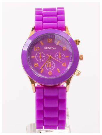 GENEVA Fioletowy zegarek damski na silikonowym pasku