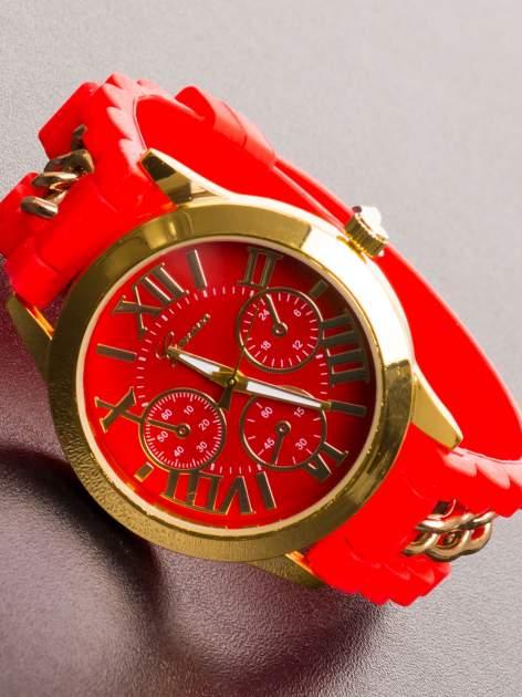 GENEVA Modny czerwony damski zegarek ze złotym łańcuszkiem na pasku