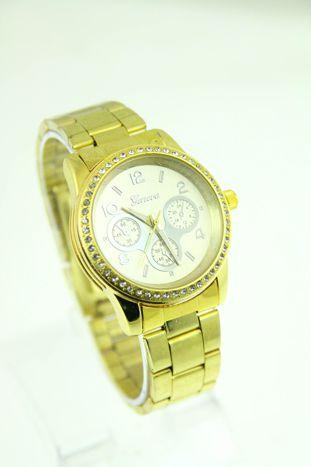 GENEVA Złotosrebrny zegarek damski z cyrkoniami na bransolecie
