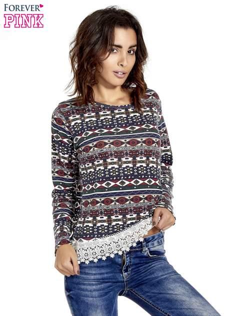 Granatowa bluza w azteckie wzory z koronką