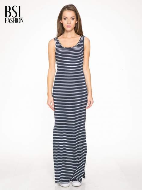 Granatowa prosta długa sukienka w paski z bawełny