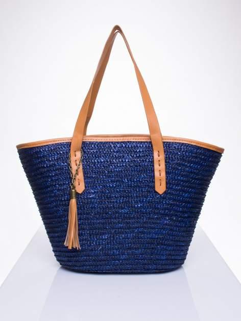 Granatowa torba koszyk plażowy ze skórzanymi rączkami