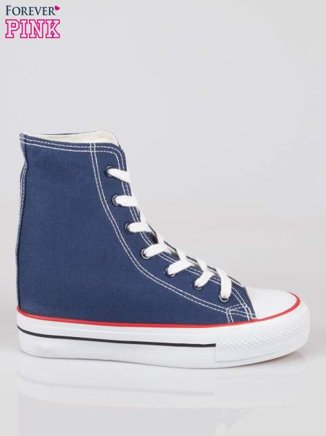 Granatowe sneakersy trampki damskie na koturnie