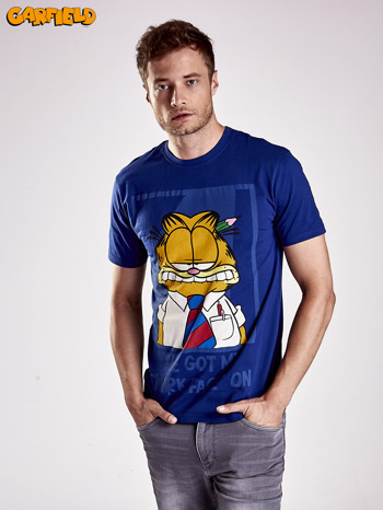 Granatowy t-shirt męski GARFIELD