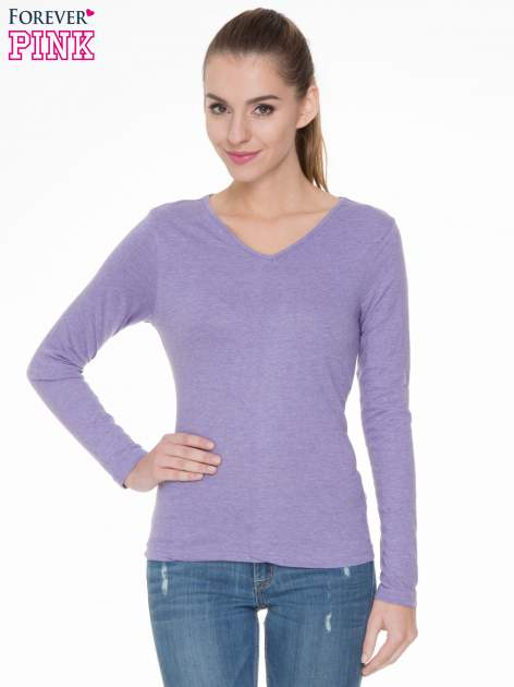 Jasnofioletowa bluzka z długim rękawem z bawełny