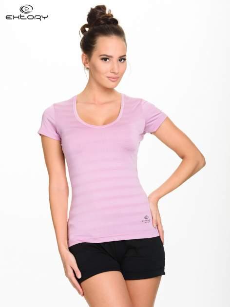 Jasnofioletowy damski t-shirt sportowy w paski