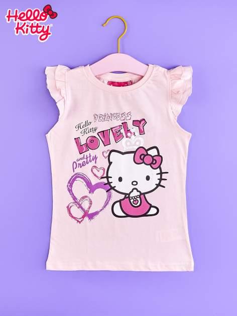 Jasnoróżowy t-shirt dla dziewczynki z falbankowymi rękawkami HELLO KITTY