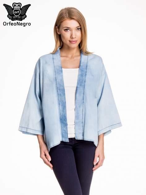 Jeansowa koszula narzutka o kroju kimono
