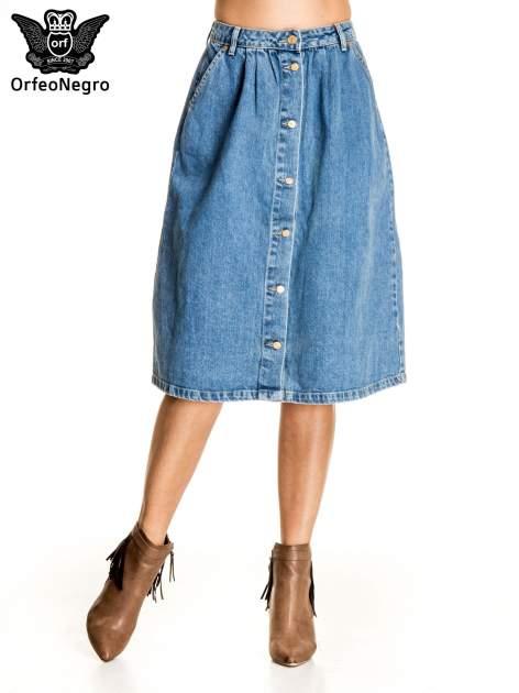 Jeansowa spódnica z guzikami w stylu vintage