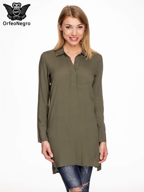 Khaki długa koszula z rozporkami po bokach