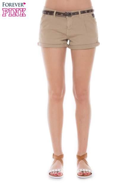 Khaki krótkie spodenki damskie z paskiem