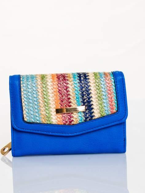 Kobaltowy portfel z plecionką
