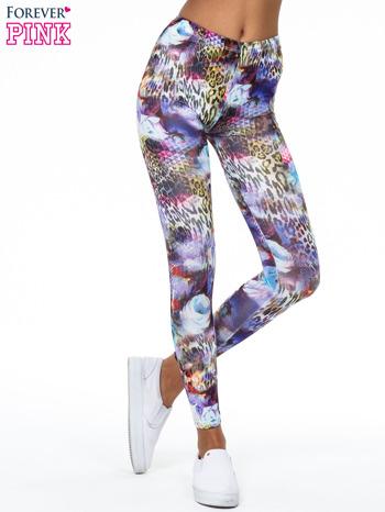 Kolorowe legginsy z lamparcim nadrukiem