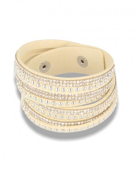 Kremowo-srebrna Bransoletka na zamszowym pasku z cyrkoniami