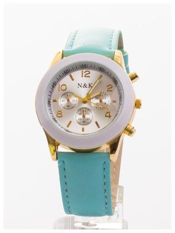 Miętowy damski zegarek z ozdobnym tachometrem