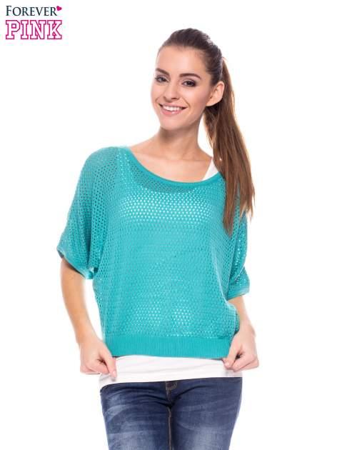 Miętowy siateczkowy sweter oversize