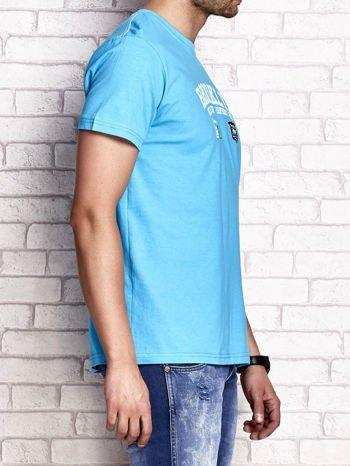 Niebieski t-shirt męski z napisami BROOKLYN NEW YORK SPIRIT 86