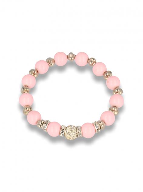 Różowa Bransoletka koralikowa z kulką schamballa