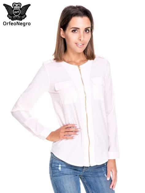 Różowa koszula ze złotym suwakiem i kieszonkami