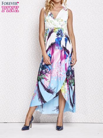 Różowa sukienka maxi z trójkątnym dekoltem