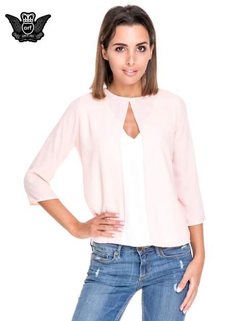Różowo-biała dwuwarstwowa koszula o kroju narzutki